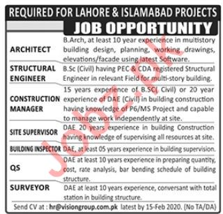 Vision Group of Companies Jobs 2020 in Lahore & Islamabad