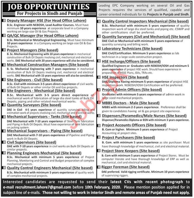 EPC Company Jobs 2020 in Lahore & Karachi