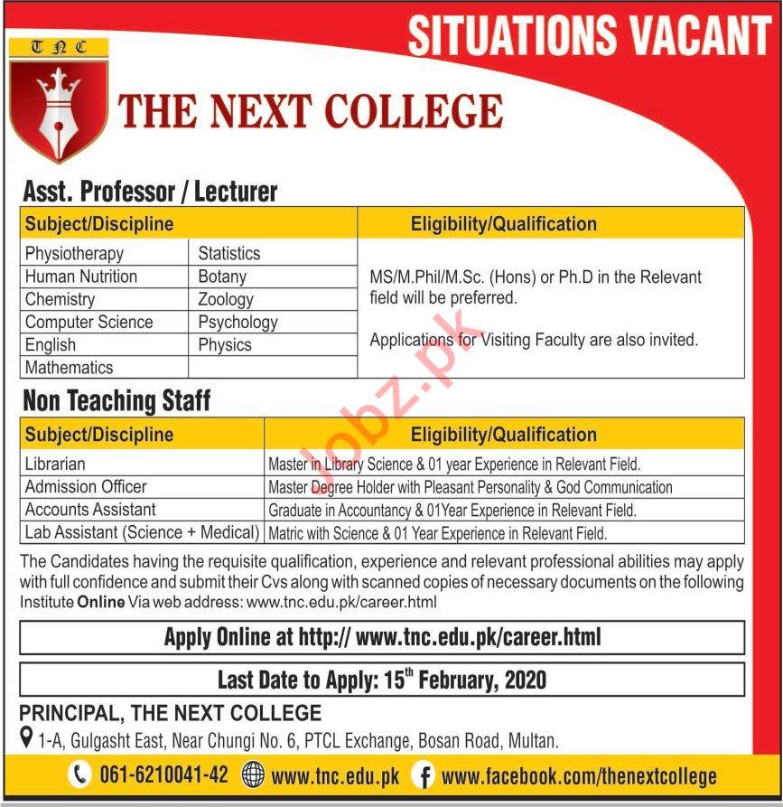The Next College Teaching & Non Teaching Staff Jobs 2020