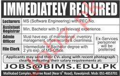 Barani Institute of Management Sciences BIMS Rawalpindi Jobs