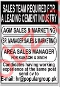 Cement Industry Jobs 2020 For Sales Staff in Karachi