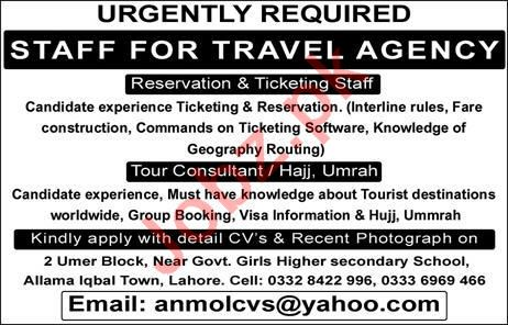 Travel Agency Jobs 2020 in Lahore