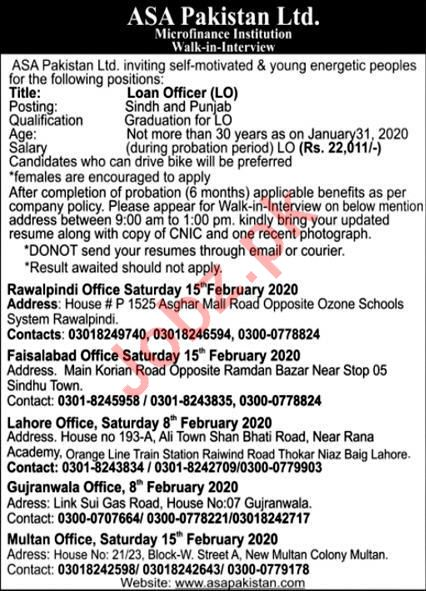 ASA Pakistan Limited Jobs 2020