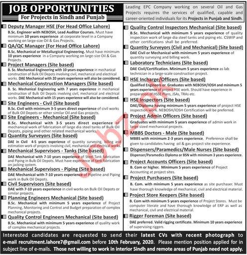 Management Staff Jobs EPC Company