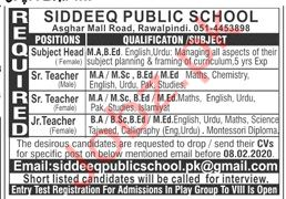 Siddeeq Public School Asghar Mall Road Rawalpindi Jobs 2020