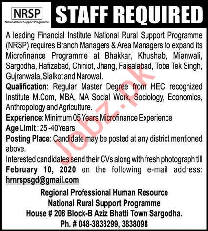 National Rural Support Program NRSP Jobs 2020