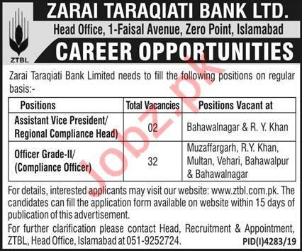 Zarai Taraqiati Bank Limited ZTBL Jobs 2020