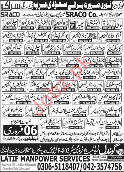 SRACO Company Jobs 2020 For Technical Staff in Saudi Arabia