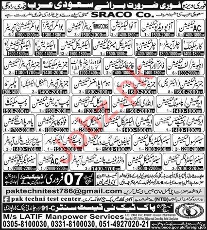SRACO Company Jobs 2020 For Saudi Arabia