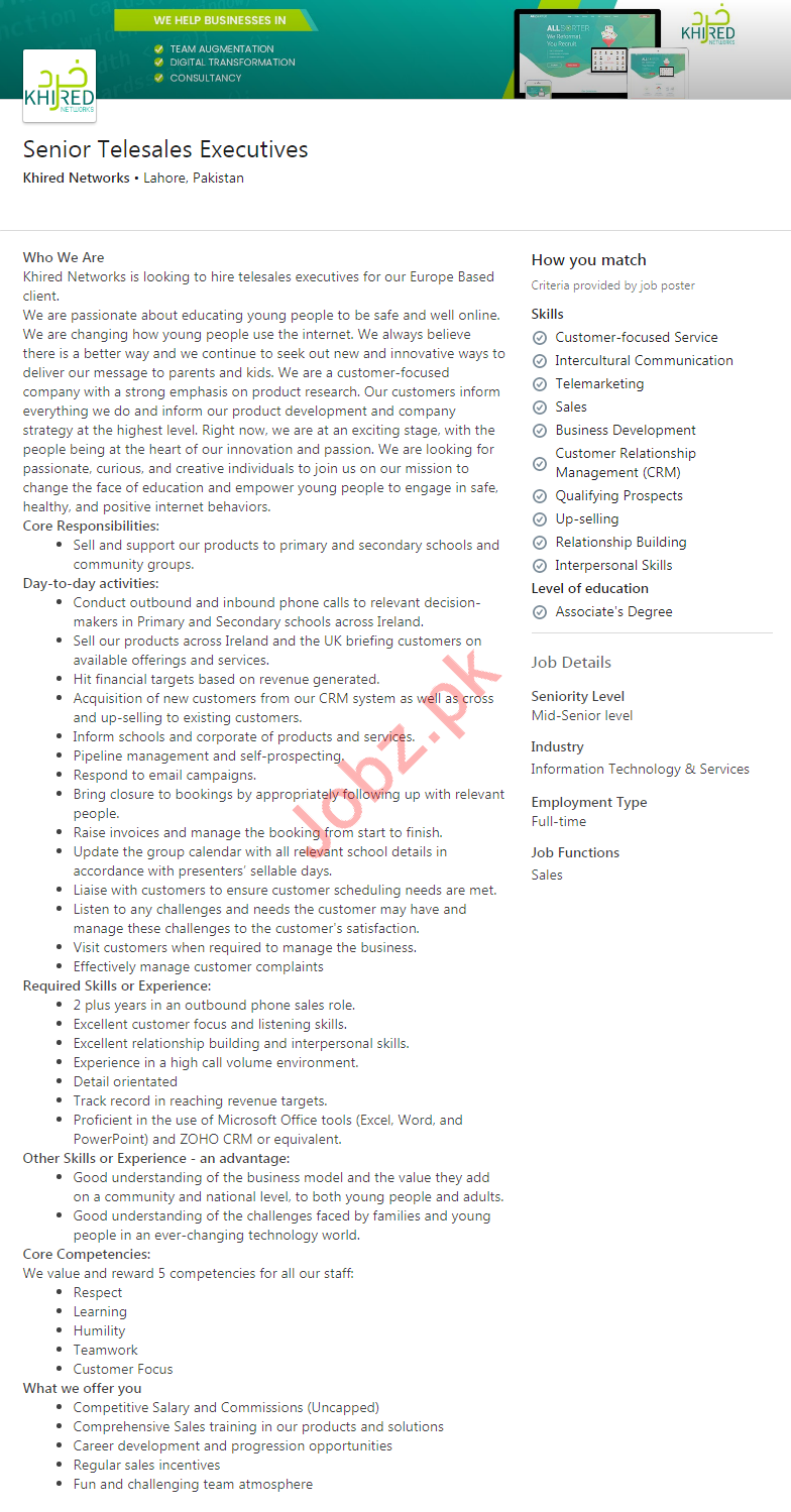 Senior Telesales Executives Jobs in Khired Networks Lahore