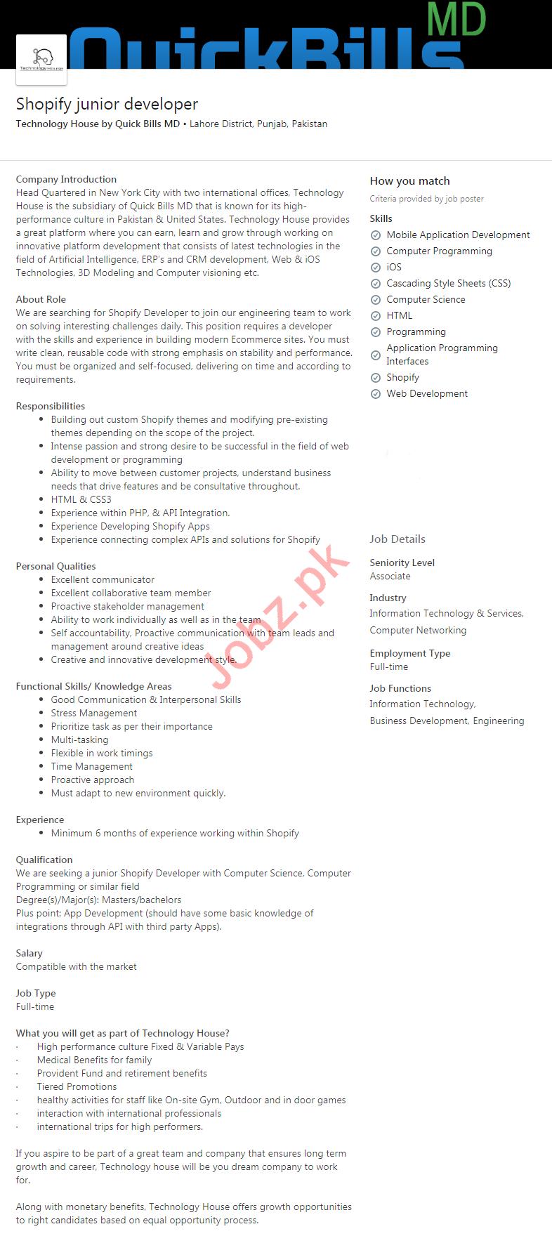 Quick Bills Md Lahore Jobs 2020 Shopify Junior Developer