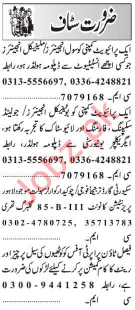 Daily Jang Managemet Staff Jobs 2020 Lahore