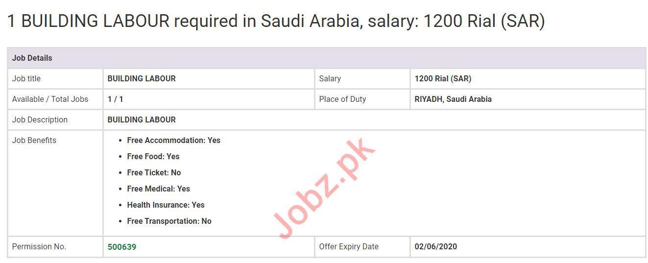 Building Labour Jobs Open in Saudi Arabia