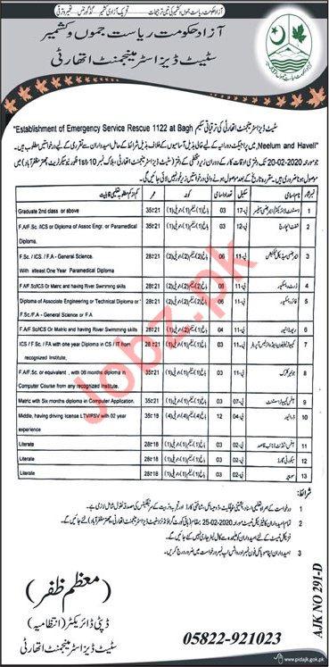 Establishment of Emergency Rescue 1122 Bagh Jobs 2020