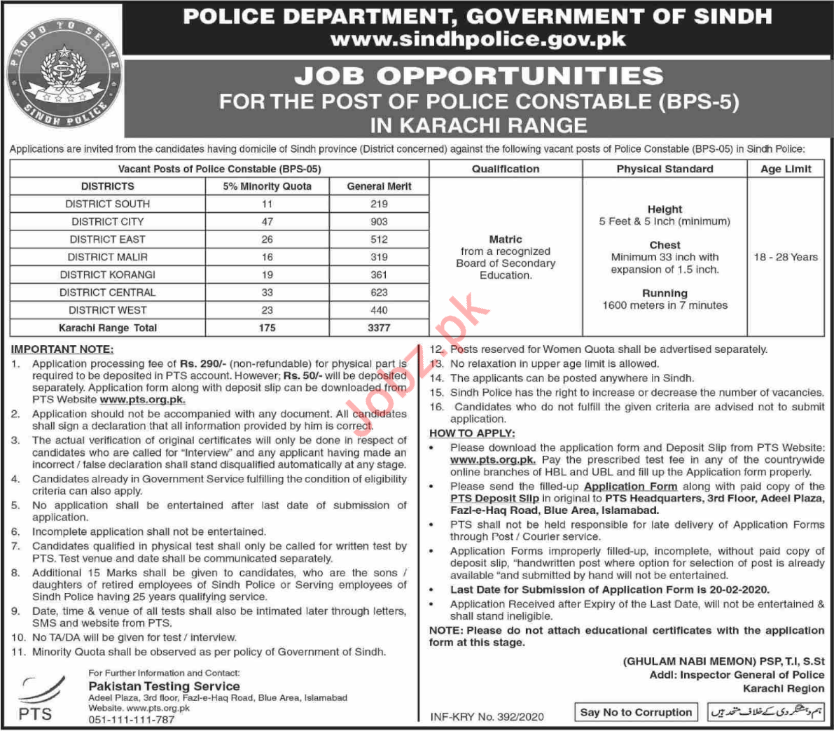 Constable Jobs in Sindh Police Department Karachi Via PTS