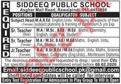 Siddeeq Public School Teaching Staff Jobs 2020