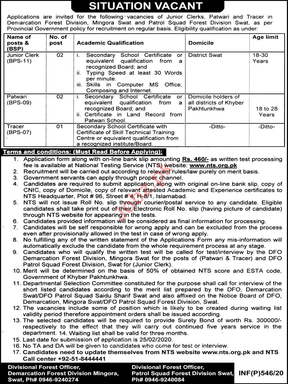 Demarcation Forest Division Swat Management Jobs via NTS