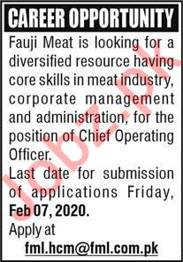 Fauji Meat Company Chief Operating Officer  Jobs 2020