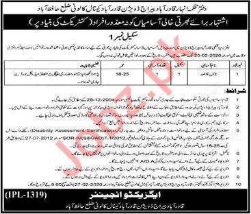 Irrigation Department Hafizabad Job 2020 for Naib Qasid