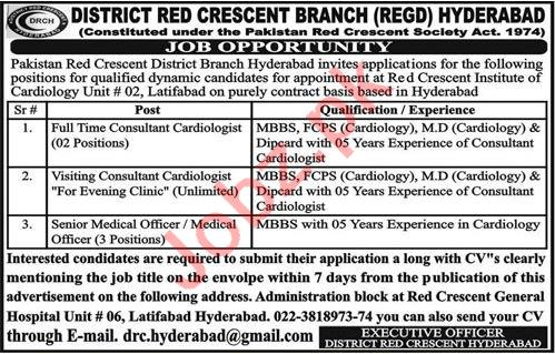 Pakistan Red Crescent PRC Hyderabad Jobs 2020