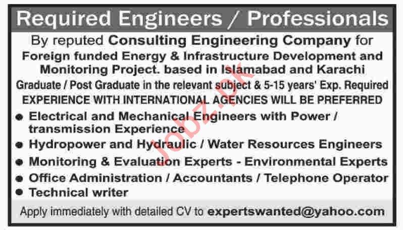 Engineers & Accountant Jobs 2020 in Karachi