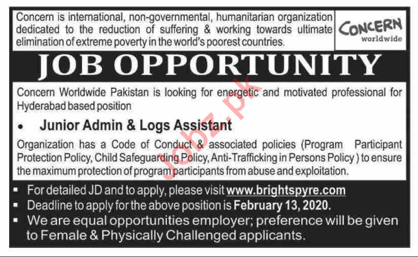 Concern Worldwide Pakistan Jobs 2020 for Logs Assistant