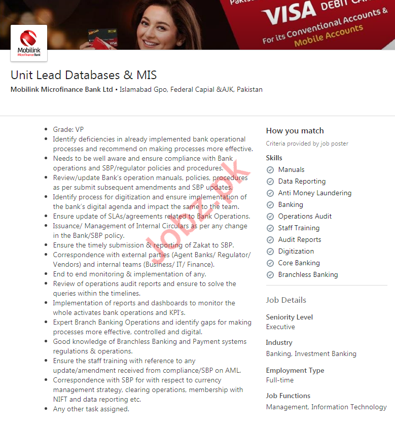 Unit Lead Database Jobs in Mobilink Microfinance Bank