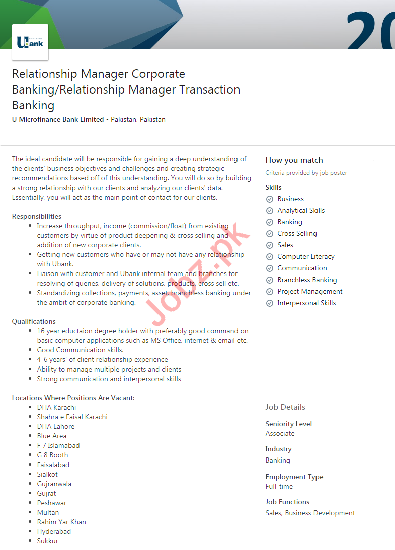 Relationship Manager Corporate Jobs in U Bank