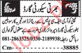 Security Staff Jobs 2020 For Quetta Balochistan