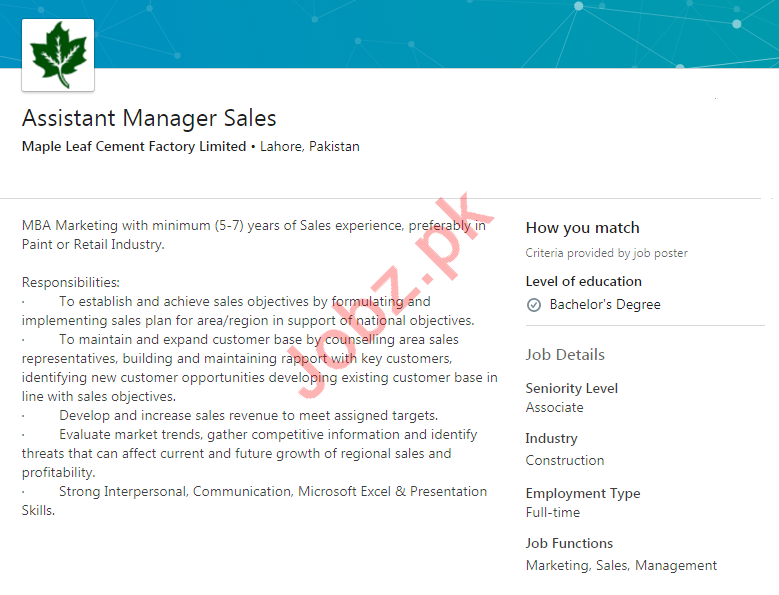 Maple Leaf Cement Factory MLCF Jobs 2020 for Manager Sales
