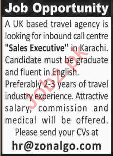 Travel Agency Jobs 2020 in Karachi for Sales Executive