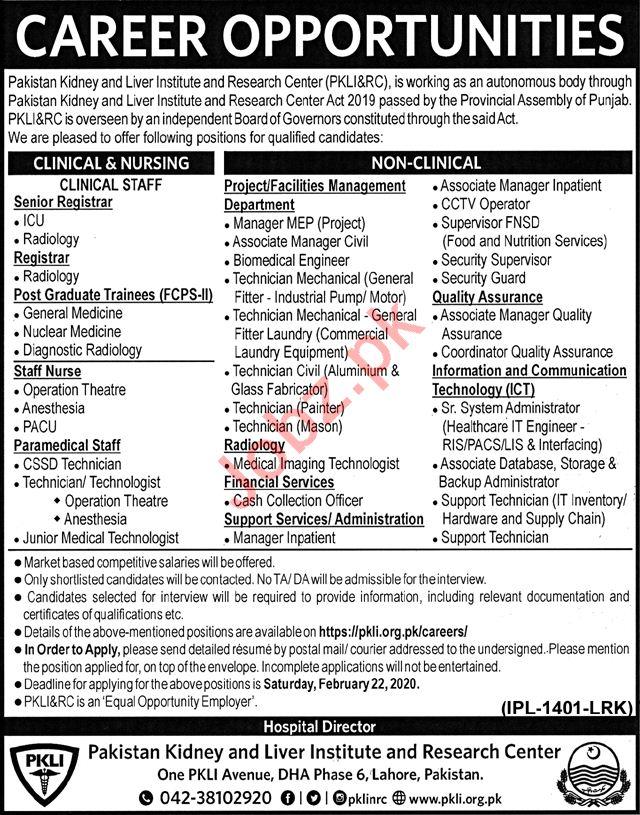 Pakistan Kidney & Liver Institute & Research Centre Jobs