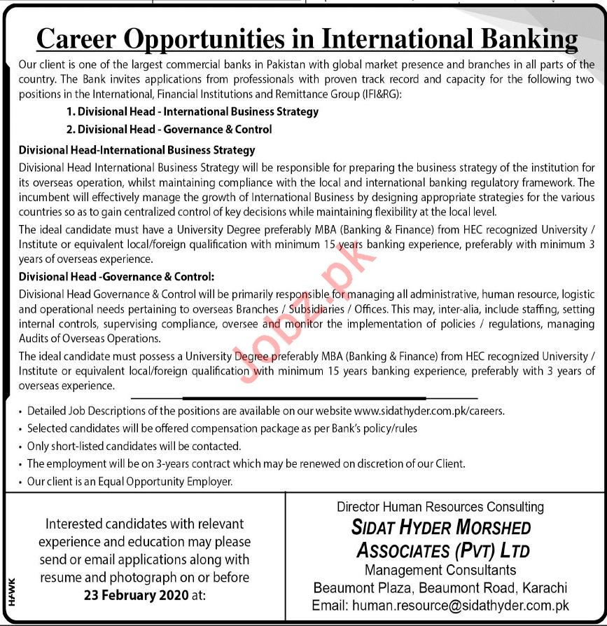 International Banks Jobs 2020 in Karachi