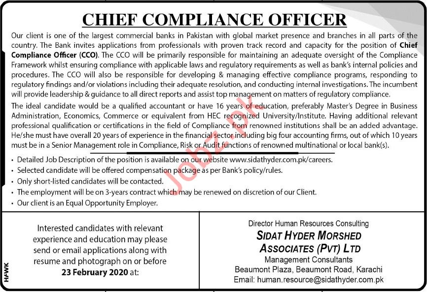 Commercial Banks Job 2020 For Chief Compliance Officer CCO
