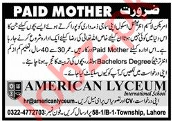 American Lyceum International School Paid Mother Jobs 2020