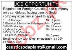 Foreign Caustic Soda Company Jobs 2020 in Lahore