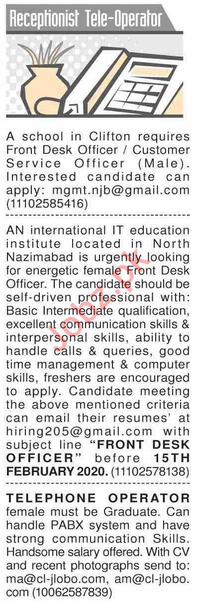 Dawn Sunday Classified Ads 9 Feb 2020 for Tele Operator