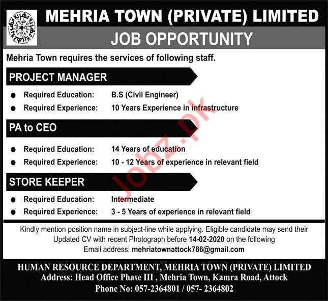 Mehria Town Private Limited Jobs 2020 in Attock
