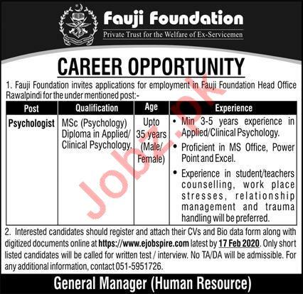 Fauji Foundation Rawalpindi Jobs for Psychologist