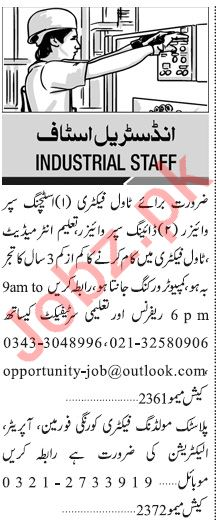 Jang Sunday Classified Ads 9 Feb 2020 for Industrial Staff