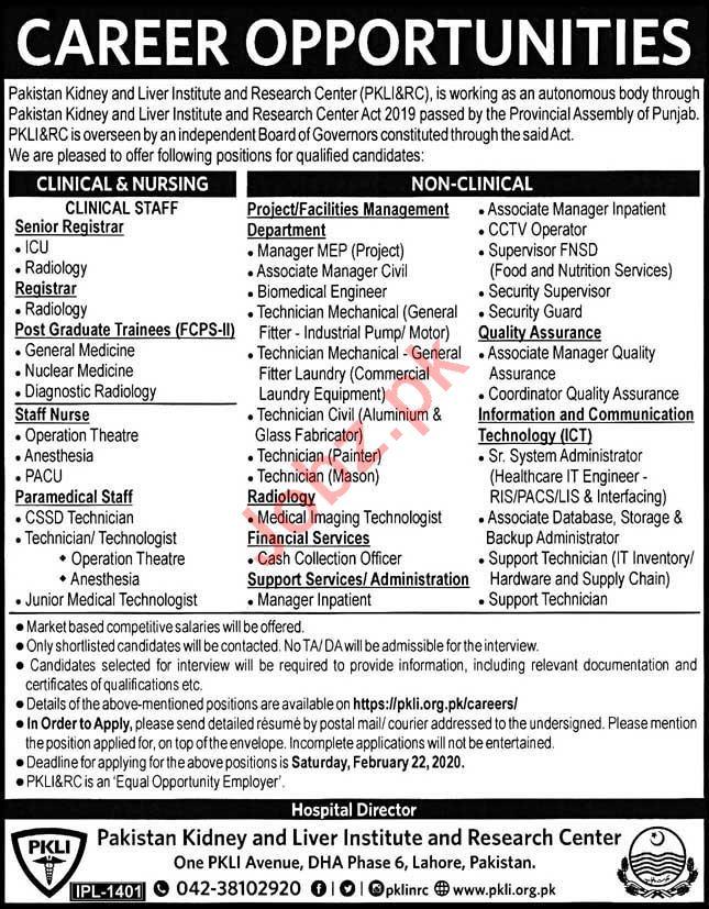 Pakistan Kidney & Liver Institute Jobs 2020 in Lahore
