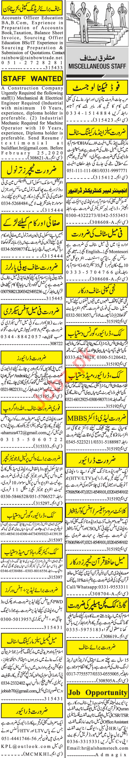 Jang Sunday Rawalpindi Classified Ads 9 Feb 2020
