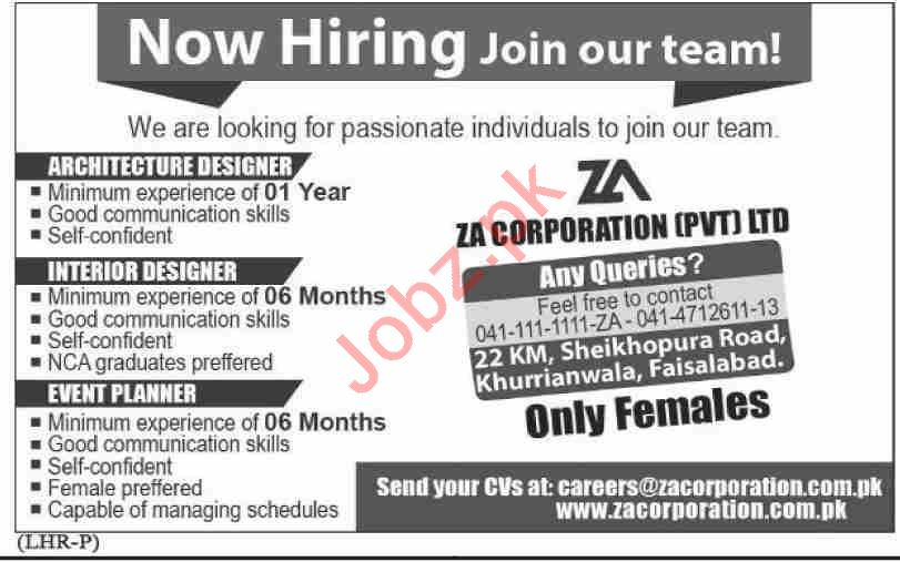 ZA Corporation Faisalabad Jobs 2020 Architecture Designer