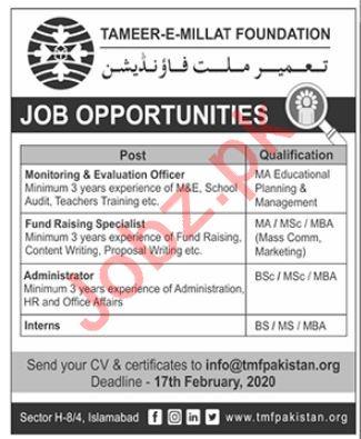 Tameer e Millat Foundation Jobs 2020 in Islamabad