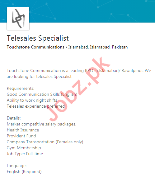 Telesales Specialist Jobs in Touchstone Communication