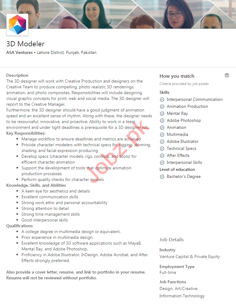 3D Modeler Jobs in ASA Ventures