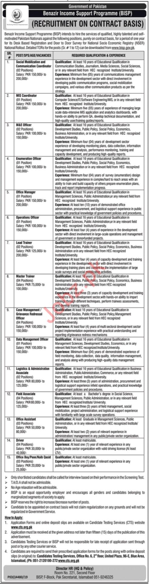 Benazir Income Support Programme BISP Jobs 2020 Via CTS