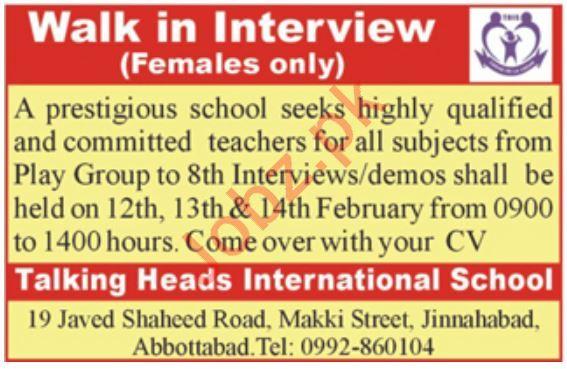 Talking Heads International School Walk In Interview 2020