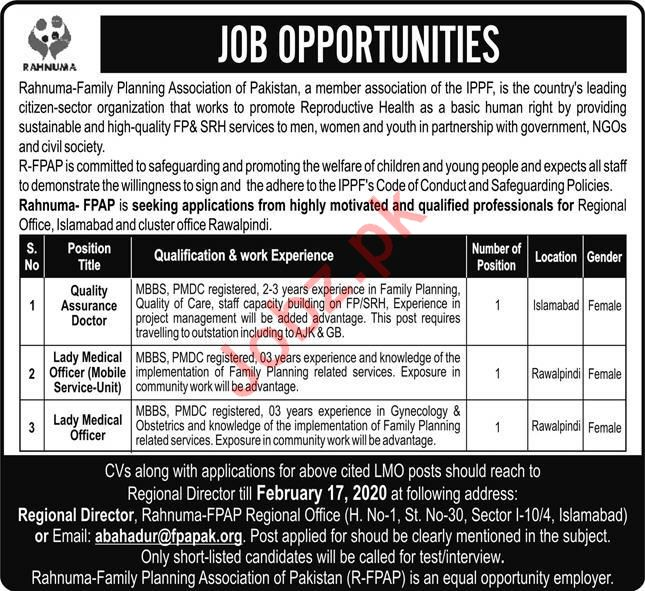 Medical Staff Jobs in Rahnuma Family Planning Association