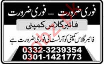 Fiber Glass Company Job 2020 For Artist in Lahore